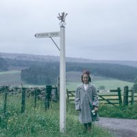 circa 1965 Park sign and Christina McBain eldest daughter McBain of McBain